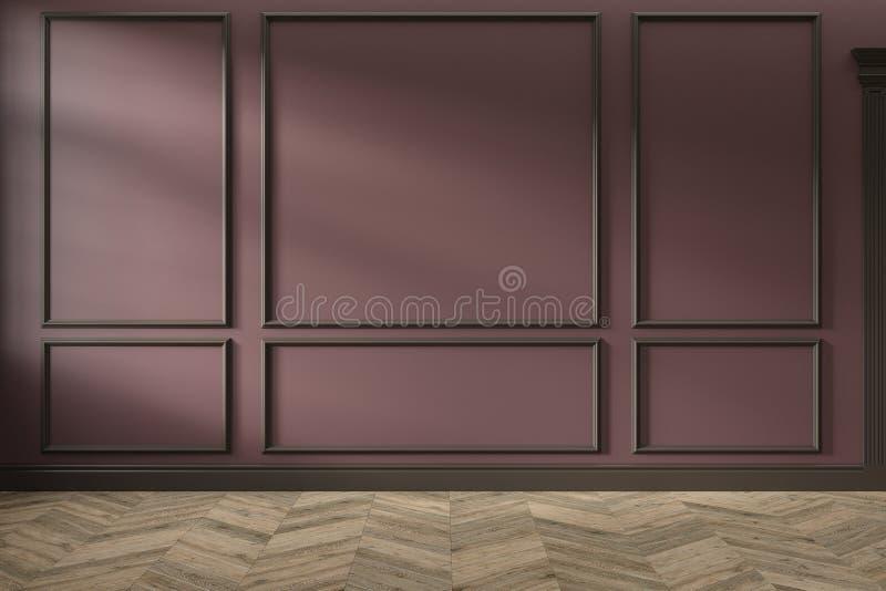 现代经典红色、marsala、伯根地颜色空的内部与墙板,造型和木地板 库存图片