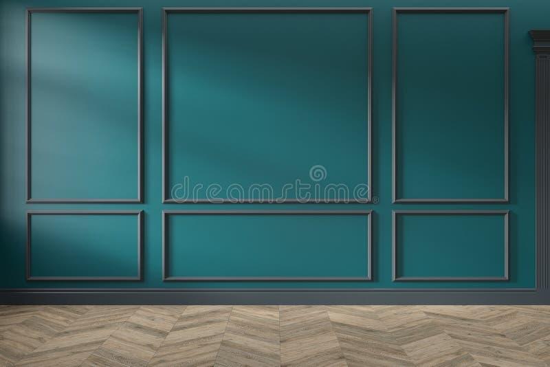 现代经典绿色、绿松石颜色空的内部与墙板,造型和木地板 免版税库存照片