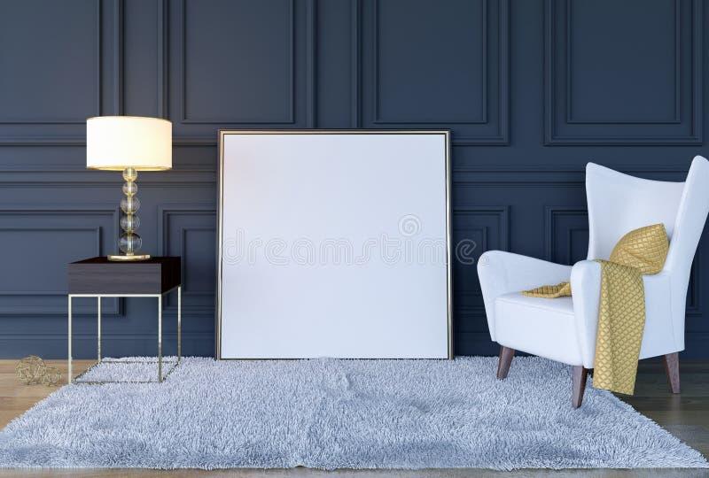 现代经典豪华与嘲笑的客厅内部背景海报框架,3D翻译 免版税库存照片
