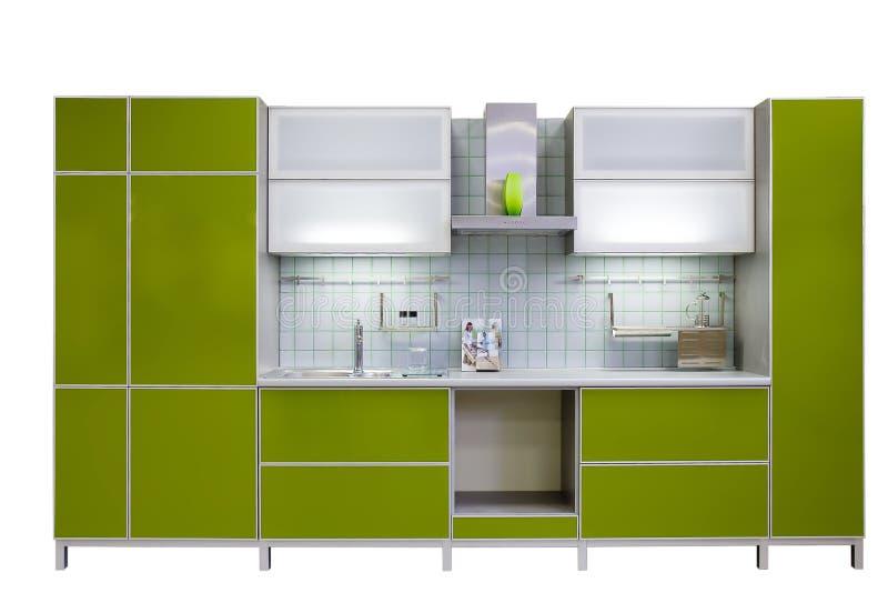 现代绿色的厨房 免版税图库摄影