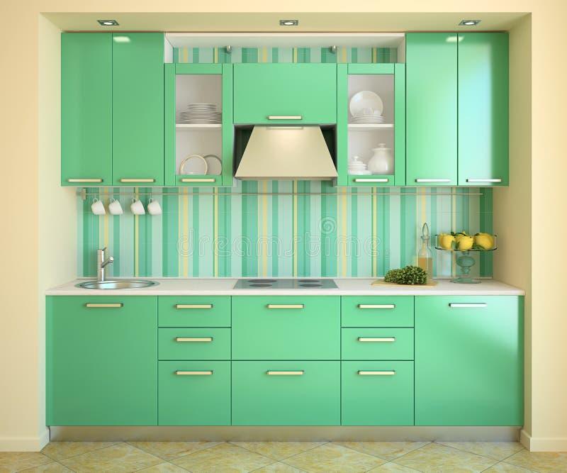 现代绿色的厨房 库存例证