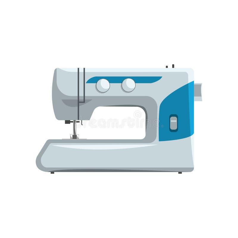 现代缝纫机,裁缝设备在白色背景的传染媒介例证 库存例证