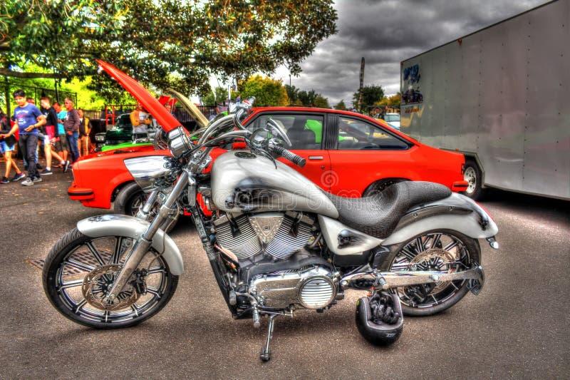 现代美国风俗被绘的胜利摩托车 库存图片