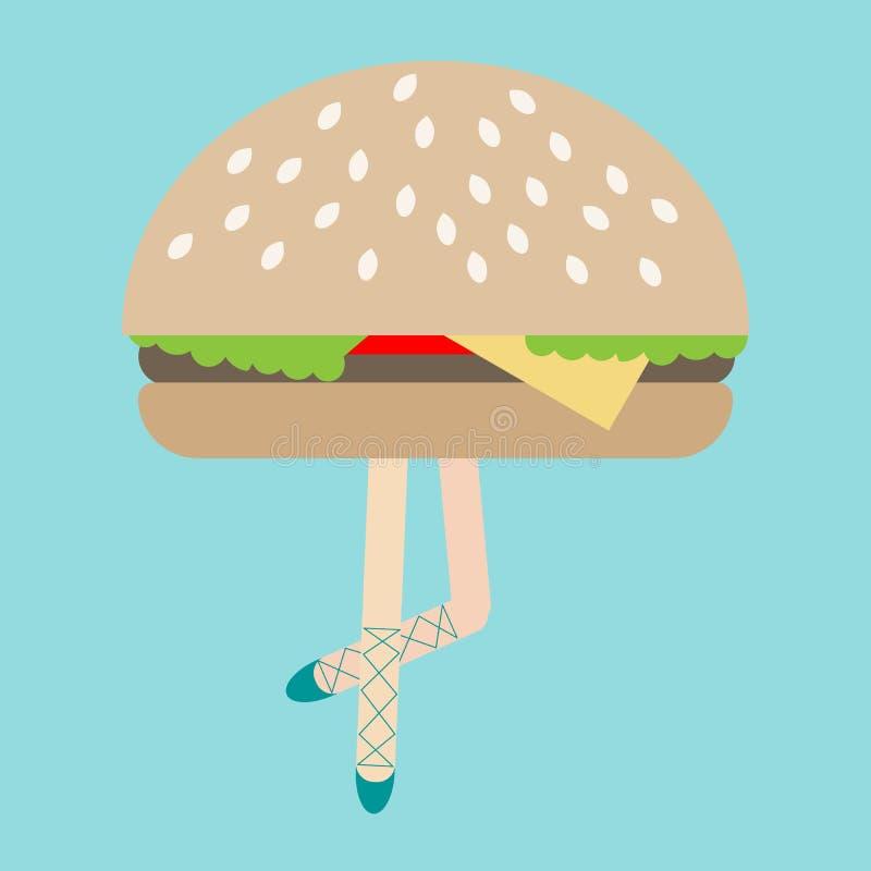 现代美术拼贴画,扎因文化,滑稽的例证,夸大,比较,超现实主义,女性ballerina's腿汉堡包, 库存例证