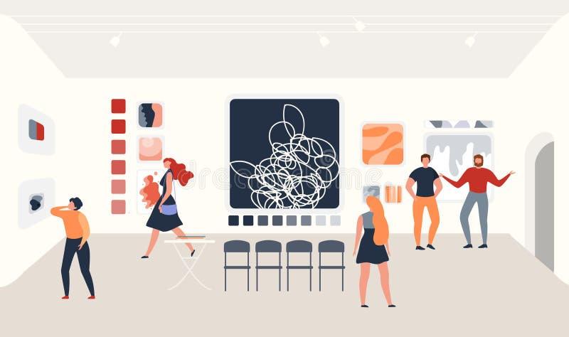 现代美术绘画画廊博览会传染媒介 库存例证