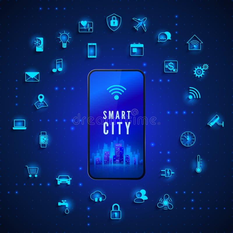 现代聪明的城市概念 流动手机屏幕和象集合的聪明的城市 背景二进制代码地球电话行星技术 也corel凹道例证向量 向量例证