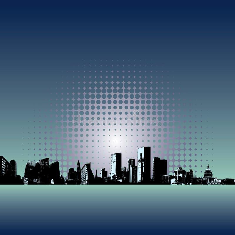 现代背景的城市 皇族释放例证
