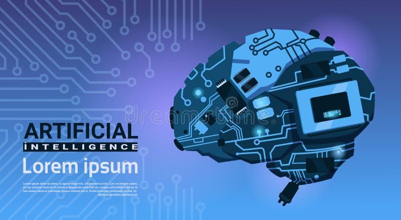 现代脑子靠机械装置维持生命的人机制形状在电路主板背景横幅的与人为拷贝的空间 皇族释放例证