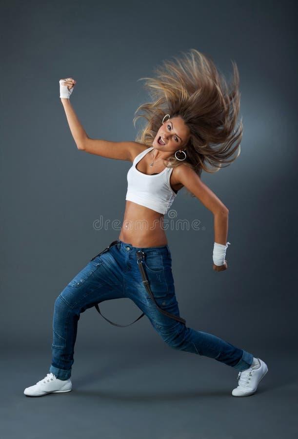 现代舞蹈跳舞女性的爵士乐 免版税图库摄影