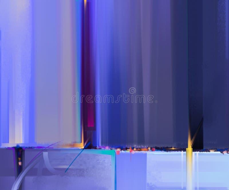 现代艺术与绿色,蓝色颜色的油画 背景的抽象当代艺术 图库摄影