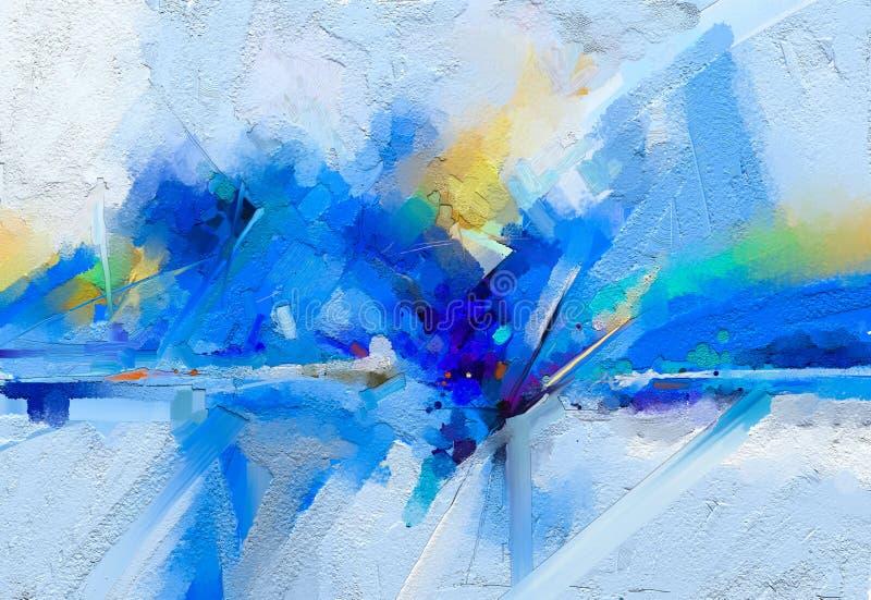 现代艺术与黄色,红颜色的油画 背景的当代艺术 皇族释放例证