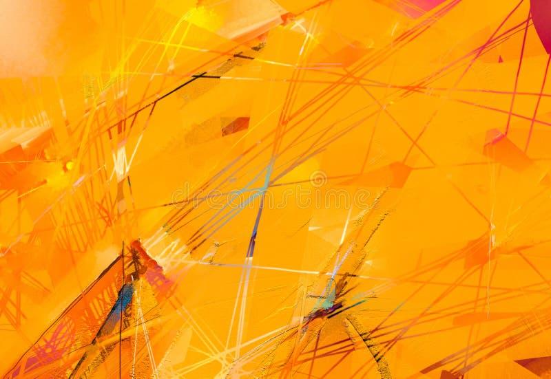 现代艺术与黄色,红颜色的油画 背景的当代艺术 向量例证