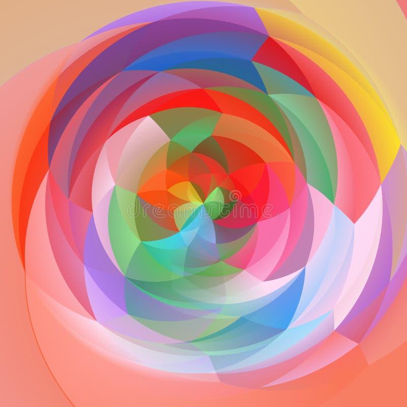 现代艺术几何漩涡背景-色的淡色充分的光谱 向量例证