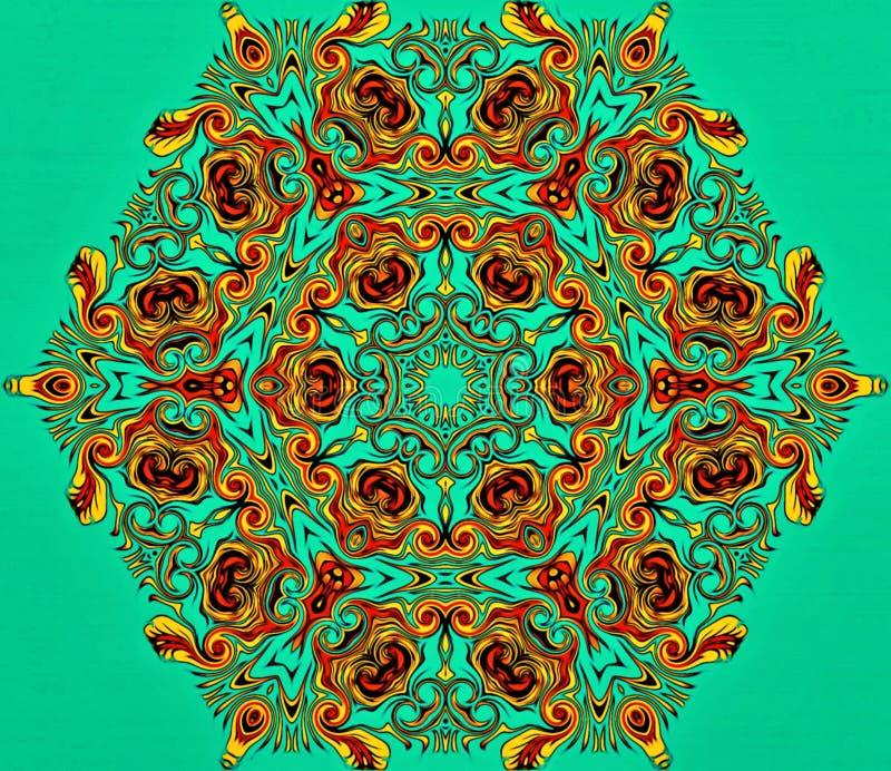 现代艺术抽象几何  神秘的东部坛场 花卉万花筒传统设计 荧光的对称backgro 免版税库存图片