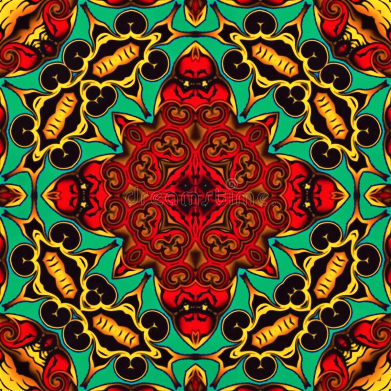 现代艺术抽象几何  神秘的东部坛场 花卉万花筒传统设计 荧光的对称backgro 向量例证