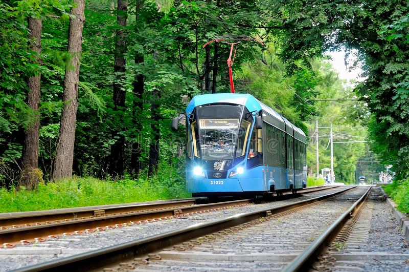 现代莫斯科电车模型71-931 Vityaz-M 免版税库存图片