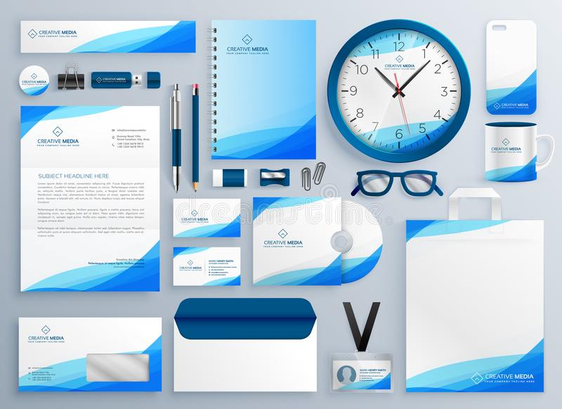 现代蓝色企业文具传染媒介模板集合 皇族释放例证