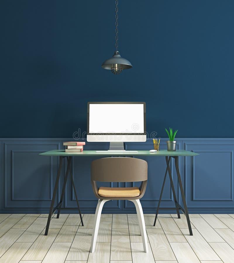 现代蓝色内部的工作场所 库存例证