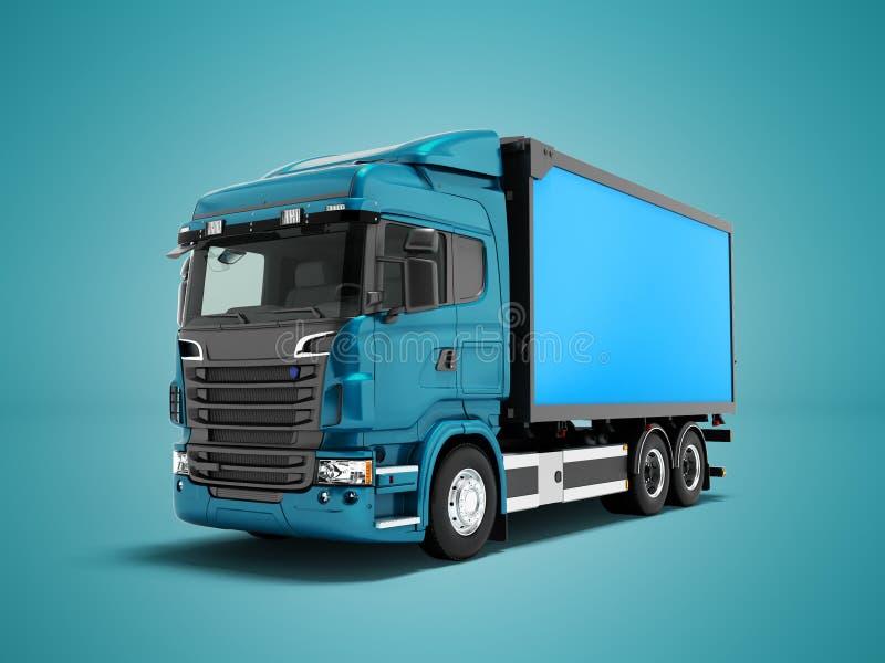 现代蓝色卡车以运输物品的蓝色拖车在Th附近 库存例证