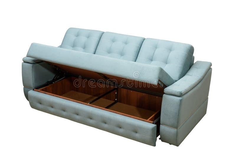 现代蓝色沙发被隔绝的白色背景 免版税库存图片