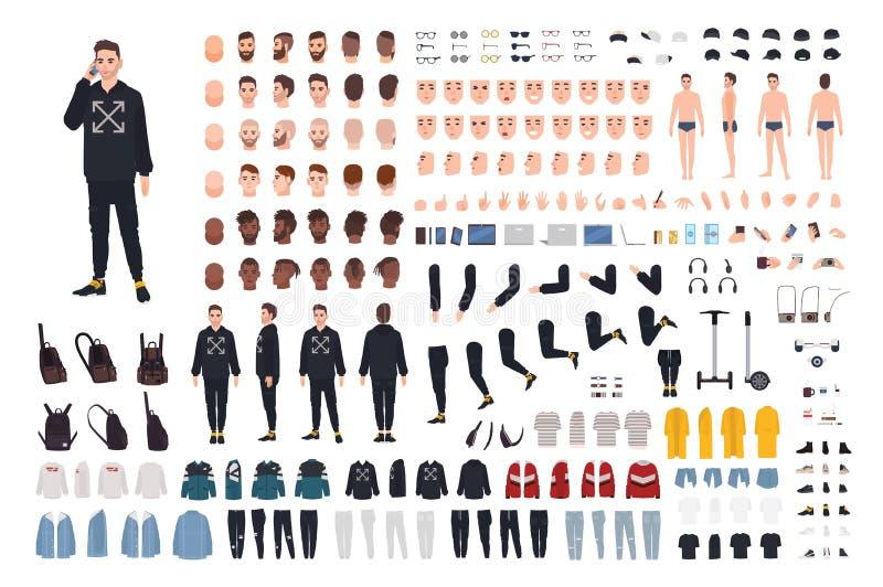 现代街道样式成套装备动画成套工具的年轻行家人 捆绑身体细节,情感,时髦的衣裳 库存例证