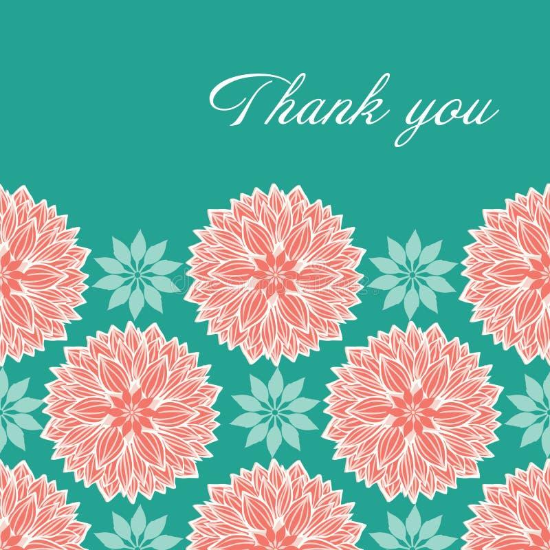 现代被传统化的waterlily或大丽花花坛场在桃子设计,并且与典雅的蓝色感谢您在上写字 边界月桂树离开橡木丝带模板向量 向量例证