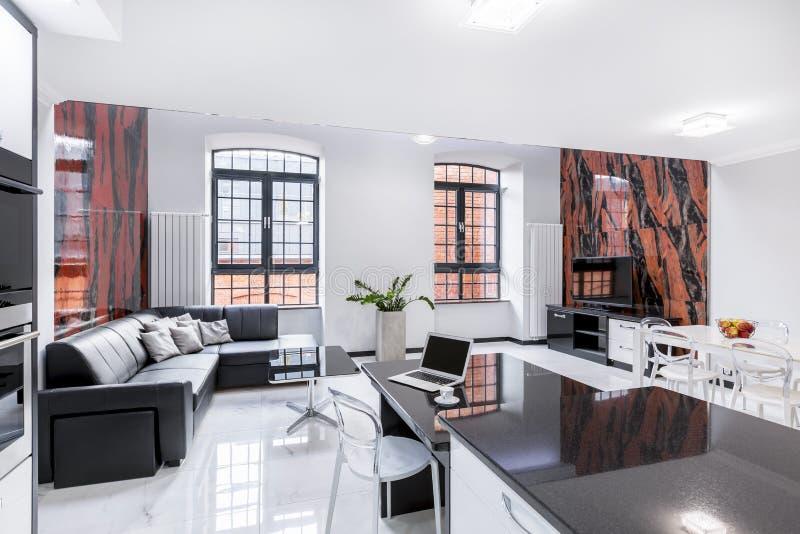 现代被设计的客厅内部 免版税库存图片