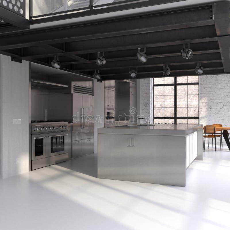 现代被转换的厨房的顶楼 皇族释放例证