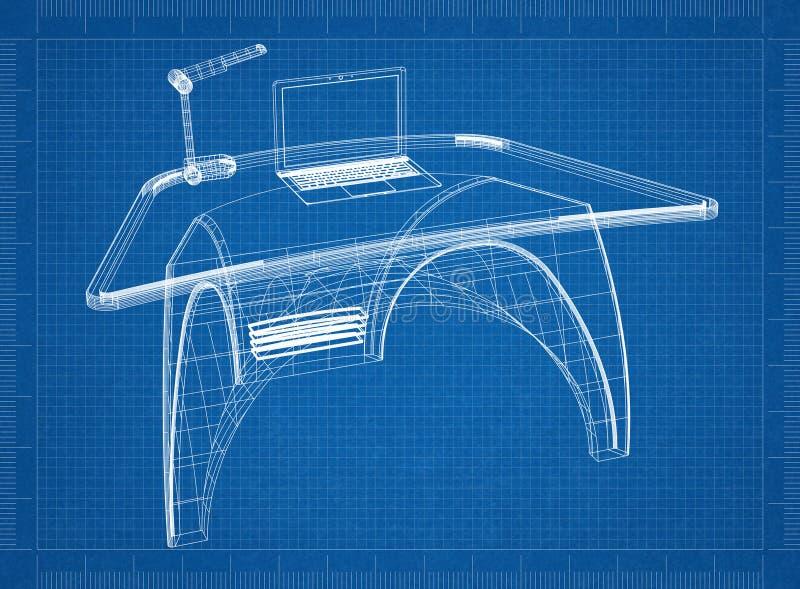 现代计算机书桌3D图纸 皇族释放例证