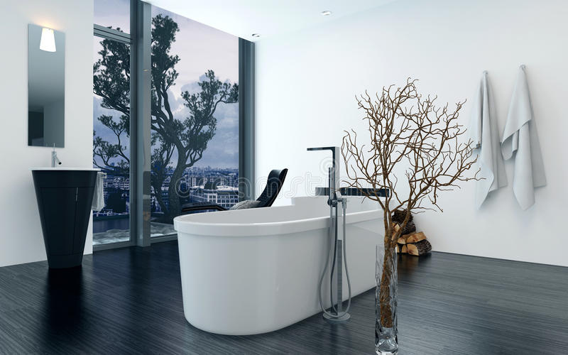 现代设计与浴缸的卫生间内部 免版税库存图片