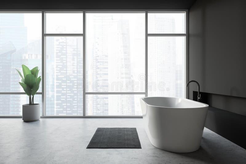 现代设计与bathtube和全景窗口的卫生间内部 皇族释放例证
