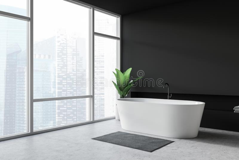 现代设计与bathtube和全景窗口的卫生间内部 向量例证