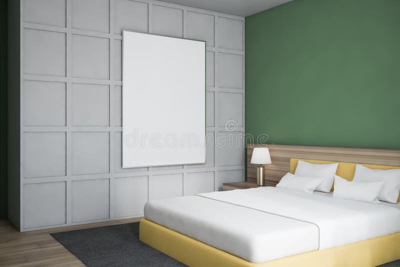 现代设计卧室内部 海报的嘲笑 库存例证