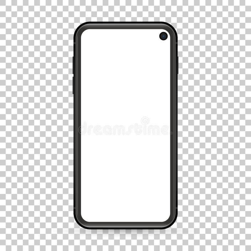 现代设计有黑屏的手机在透明背景 向量例证