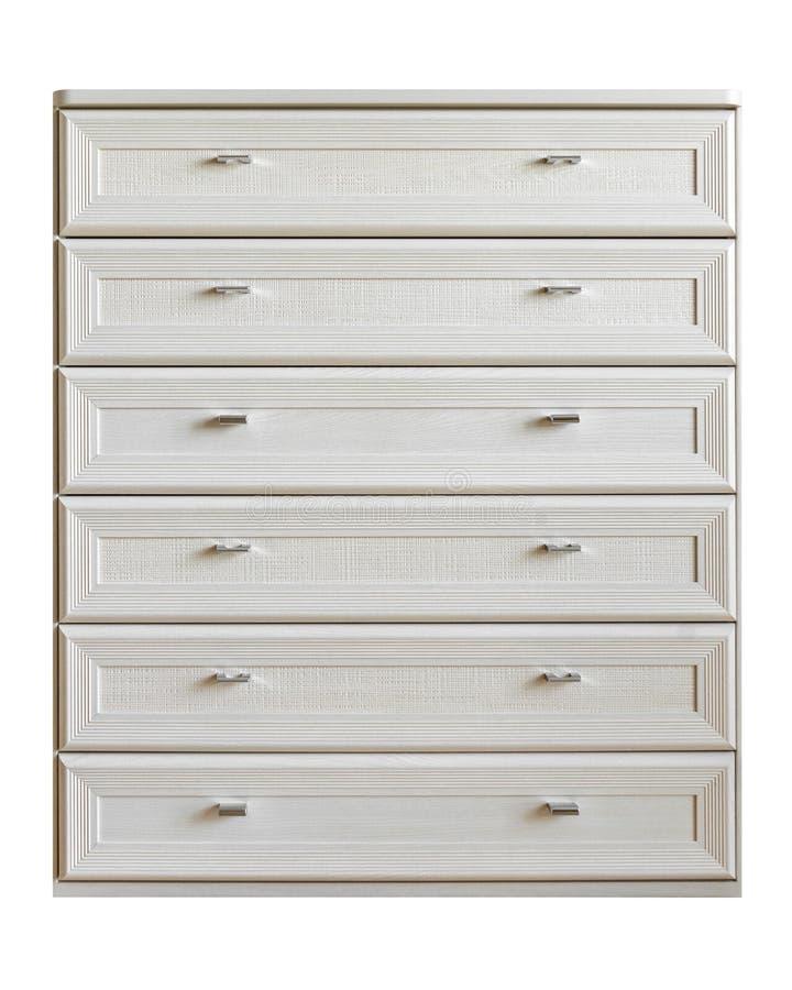 现代设计木梳妆台,五斗橱,与在白色背景隔绝的六个箱子的洗脸台 库存图片