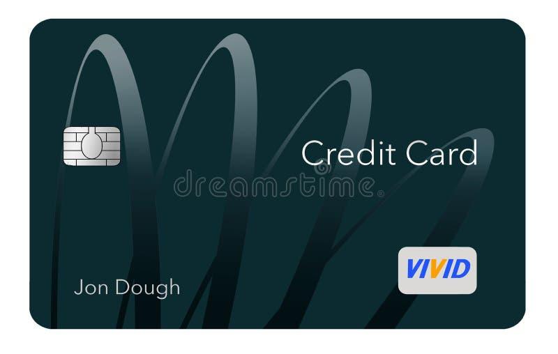 现代设计这里信用卡是与最小数量的图表的一张普通信用卡在是mod的趋向的前面 向量例证