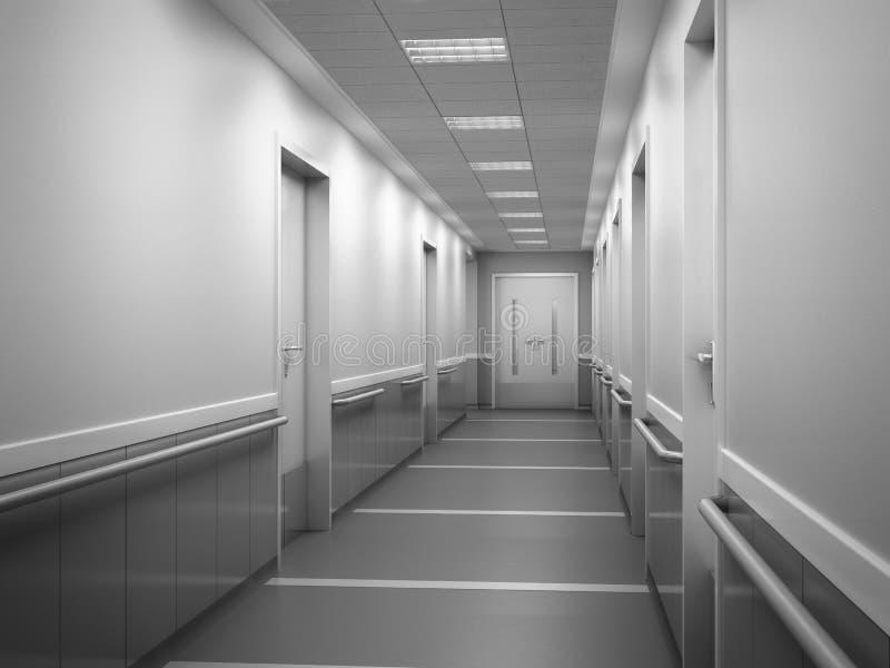现代诊所明亮的被弄脏的背景走廊spaciou 库存例证
