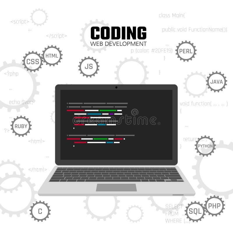 现代语言网编程 网发展、设计和编制程序概念 向量 向量例证