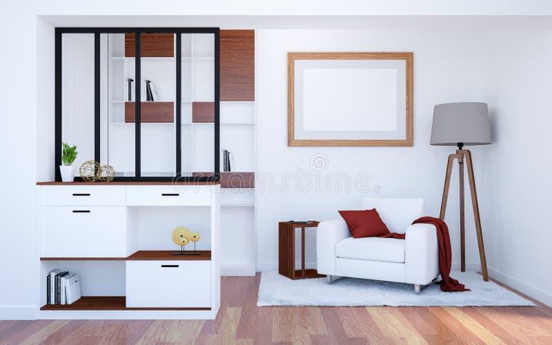 现代豪华与嘲笑的客厅内部背景空的海报框架,3D翻译 向量例证