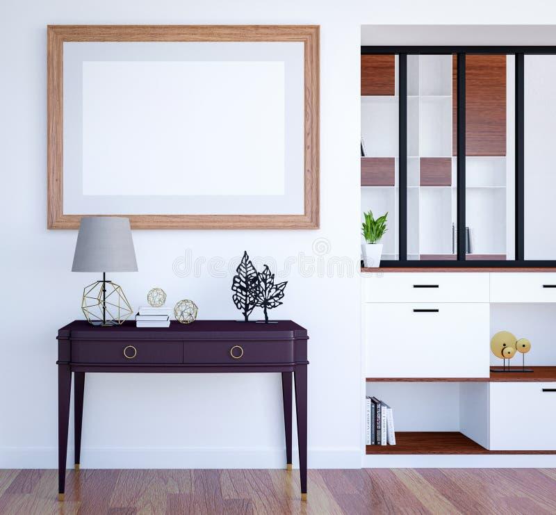 现代豪华与嘲笑的客厅内部背景空的海报框架,3D翻译 库存例证