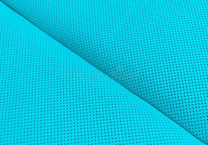 现代豪华汽车蓝色皮革内部 一部分的穿孔的皮革汽车座位细节 E 库存照片