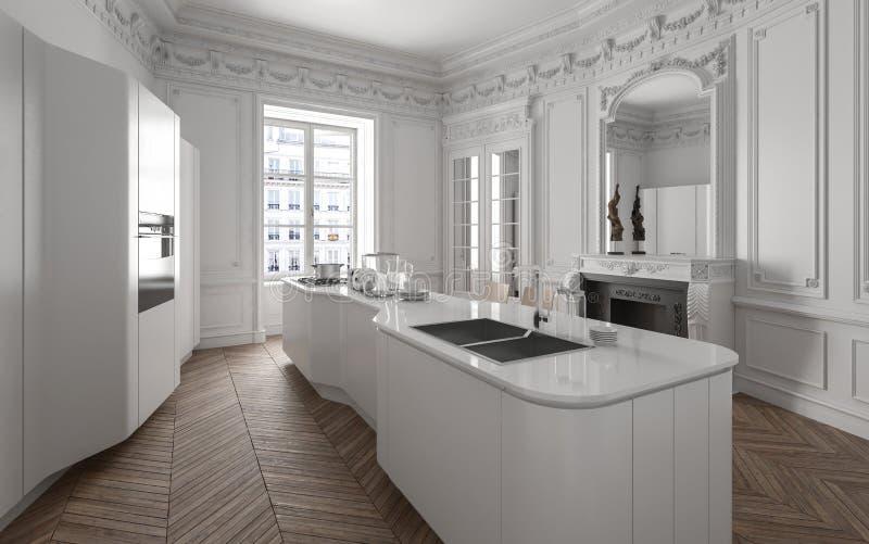 现代豪华白色适合的厨房 向量例证
