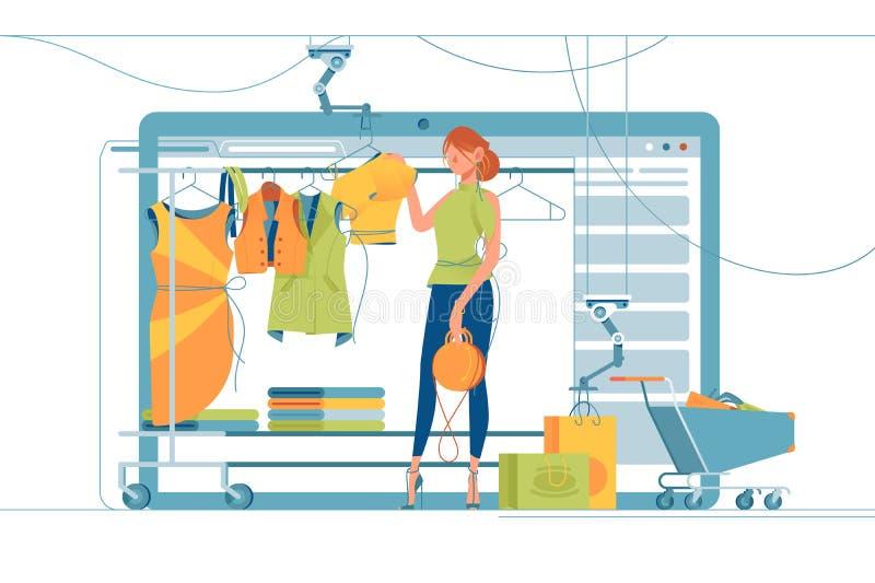 现代购物的立场 向量例证