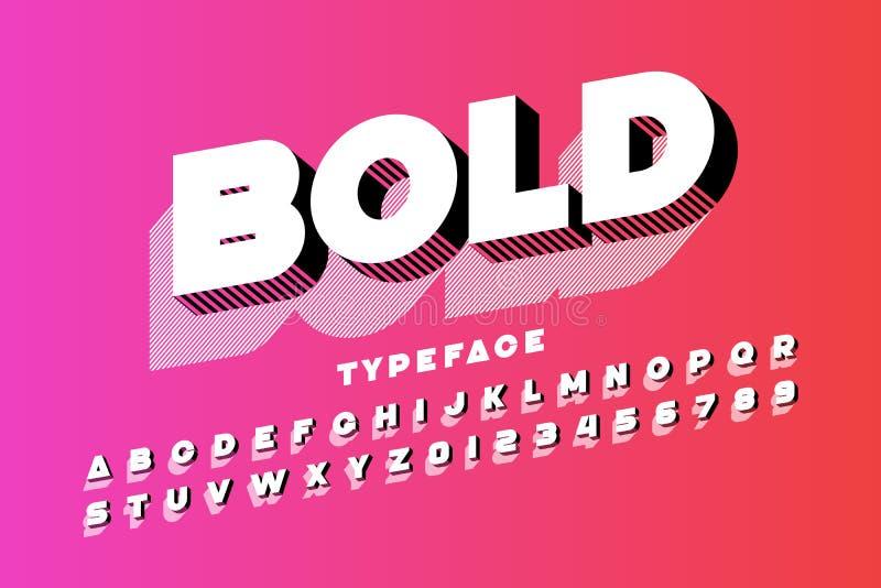 现代超大胆的3d字体 向量例证