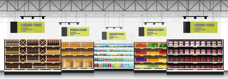 现代超级市场内部场面有产品背景 库存例证