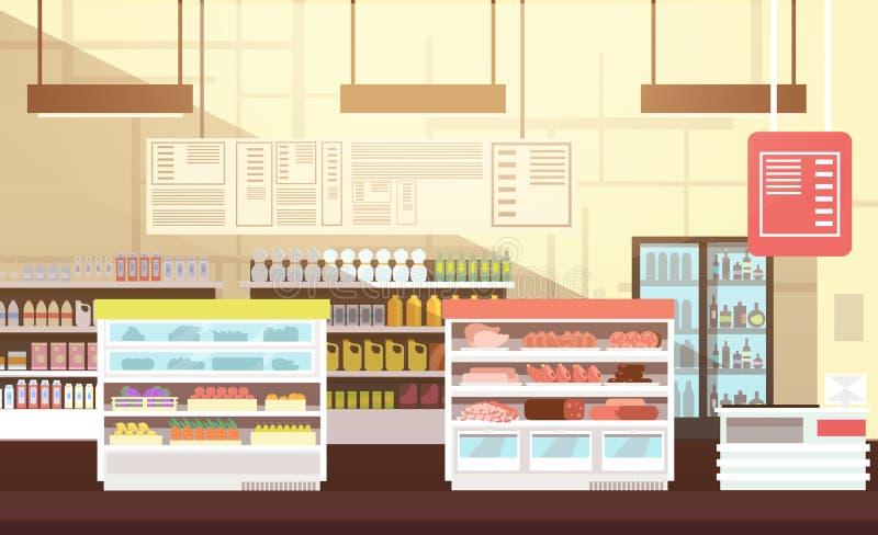 现代超级市场空的内部平的传染媒介例证 向量例证