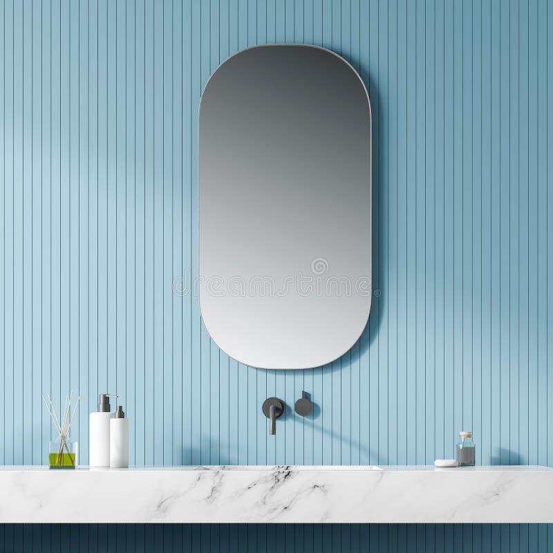 现代轻的卫生间内部 关闭 镜子 皇族释放例证