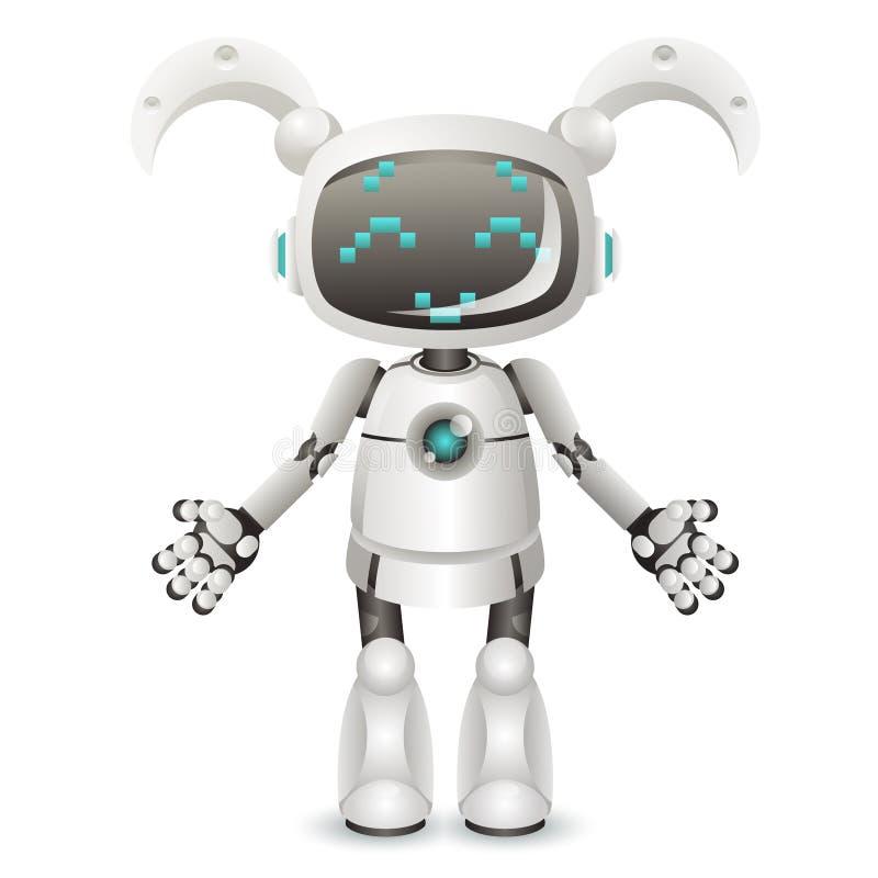 现代逗人喜爱的在白色背景3d现实设计隔绝的女孩女性机器人机器人字符人工智能 向量例证