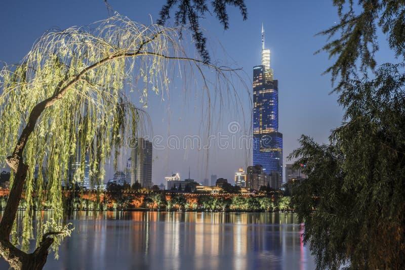 现代都市夜视图、高楼、城市墙壁和湖 库存图片