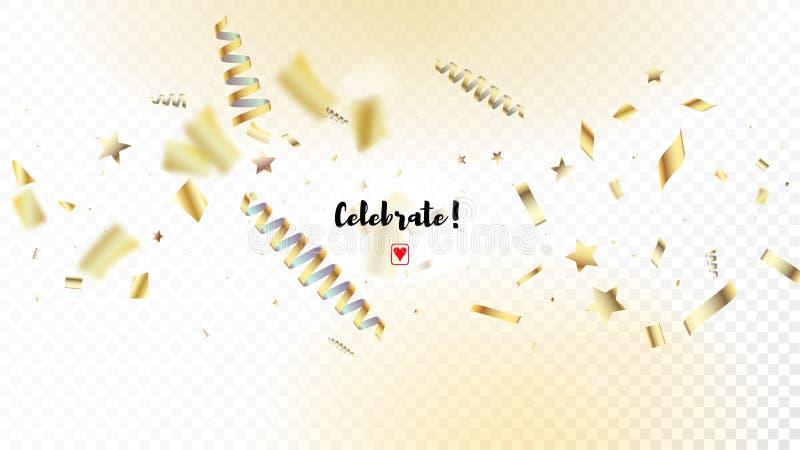 现代金五彩纸屑,流星,飘带,闪亮金属片 水平的发光的微粒背景 白金圣诞节,新年星 向量例证